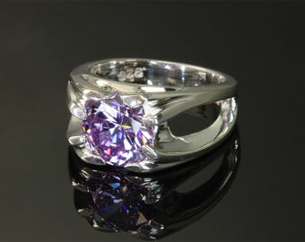 Sterling Silver Ring with Lavender Cubic Zirconia by Cavallo Fine Jewelry
