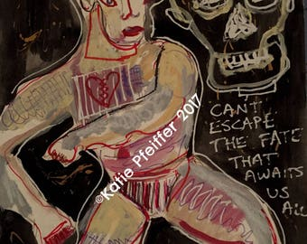 Original Painting The Fate of A Cad Outsider Art