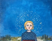 original oil painting - the universe came to her - fine art painting
