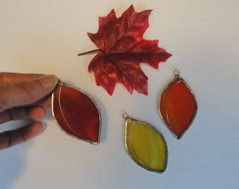 Stained Glass Autumn Leaves, Set of 3, Home Decor, Garden, Fairy Garden, Sun Catcher, Window Hanging, Fall Leaf, Fall Decor, Tree, Nature