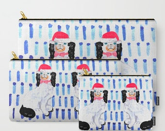 SANTA STAFFORDSHIRE DOG on Blue Pouches/Ipad case