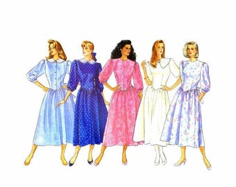 SALE 1980s Misses Dropped Waist Dress Butterick 5721 Vintage Sewing Pattern Size 6 - 8 - 10 Bust 30 1/2 - 31 1/2 - 32 1/2 UNCUT