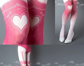 SALE///endsAug22/// Tattoo Tights, Burlesque Heart garters print light pink thigh highs illusion one size full length printed tights pantyho