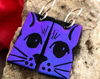 CAT Dichroic Glass Earrings - Hand Etched Split Design Purple/ Pink Glass Art