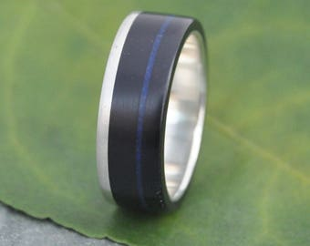 Size 6.75 READY TO SHIP Lapiz Azul Un Lado Asi Wood Ring - coyol seed and recycled silver wood wedding band, wooden wedding ring, lapis ring