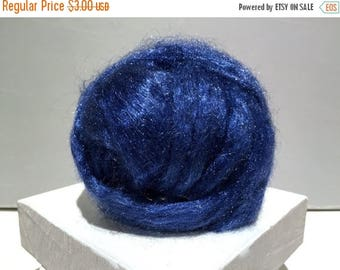 ROVING SALE Lapis blue Firestar, Needle Felting, Spinning Fiber, roving, blue, dark Blue .5 oz, similar to Icicle Top, ships free with wool