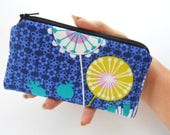 Zipper Pouch Smart Phone Pouch ECO Friendly Padded NEW SIZE Posey on Midnite Blue