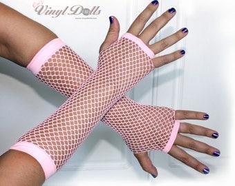 Light Pink Fingerless Fishnet Gloves