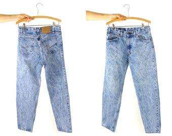 "Vintage Levi's Jeans / 80s High Waist Acid Wash Zipper Fly Denim / Worn In Faded / Unisex 31.5"" x 29.5"
