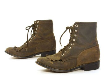 Justin Lace Up Ropers / Vintage Distressed Brown Leather Ankle Boots / Packer / Western Fringed Kiltie / Granny Booties / Women's Size 6.5
