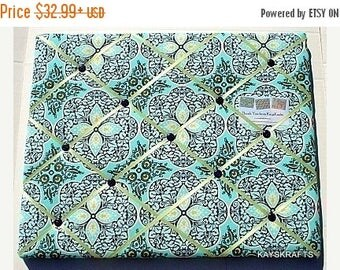 Christmas In July 30% Off Blue Daisy Chain Memory Board, Blue French Memo Board, Blue Green Fabric Ribbon Memo Bulletin Board, Daisy Chain R
