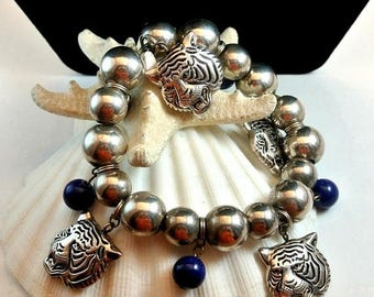 Christmas In July 40% Off Tiger Silver Best Bracelet Vintage Silver Bead Tiger Charm Stretchable Bracelet Chunky Bead Bracelet Best Jewelry