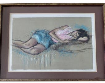 Jacque Pecnard Lithograph DREAMING Limited Ed Signed Numbered 22/200 Framed 35in VTG