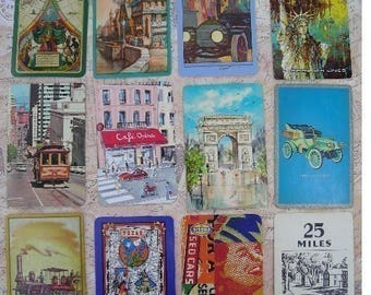 Assortment of Vintage Playing  Cards with a Travel Theme