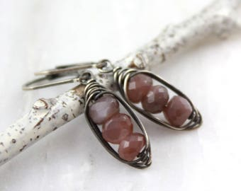 Peach Moonstone Wrapped Pod Earrings Oxidized Silver