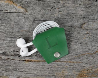 Personalized Green Leather Earbud Holder / Cord Cable Earbud Earphone Headphone Organizer Cord Keeper Wrap St Patrick's Day Shamrock
