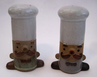 UCTCI Stoneware Chefs Salt and Pepper Shakers, mustache, cooks, kitchen, retro kitchen, ceramic salt and pepper, Japan