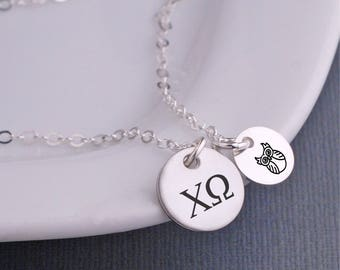 Chi Omega Necklace, Personalized Chi Omega Jewelry, Licensed Custom Sorority Necklace, Greek Letters Sorority Jewelry Owl