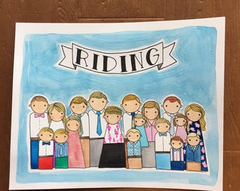 Family PegBuddies Watercolor Portrait