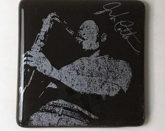 John Coltrane Fused Glass Coaster, Musician Coaster, Icon Coaster