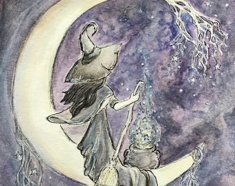 Guiding Star, Witch on Crescent Moon Free US Shipping