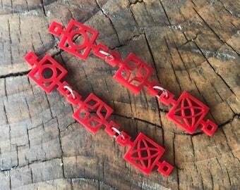Red Breeze Blocks Earrings