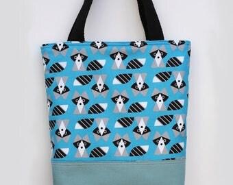 Kid tote bag, Racoon, Scripture bag, bible, Beach, pool, library bag, diaper bag, Dance bag, preschool, Book bag, Toddler Tote bag, blue