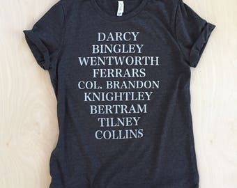 NEW - Jane's Men T-shirt - Jane Austen characters - bookish shirt