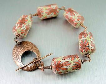 Polymer Clay and Copper Bracelet - Etched Copper Toggle Bracelet - Chunky Bead Bracelet