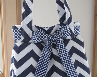 Chevron Shoulder Pleated Handbag, Purse Ipad Netbook Tote  in Navy and White Chevron Made in USA Antiquebasketlady