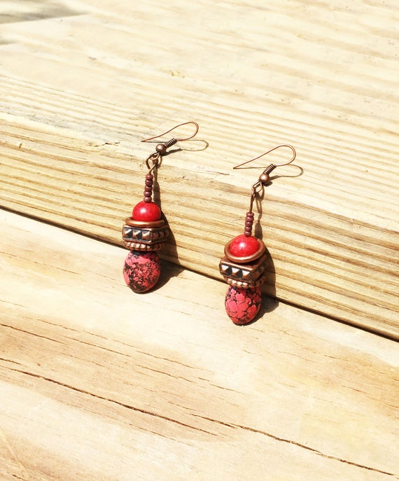 Tuscan Coral Earrings / Dangled Drop / Bohemian