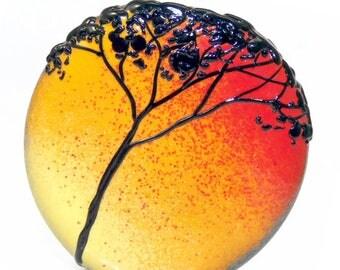 Tree Silhouette on Orange Red Fire Fade, handmade lampwork glass bead focal tab by JC Herrell