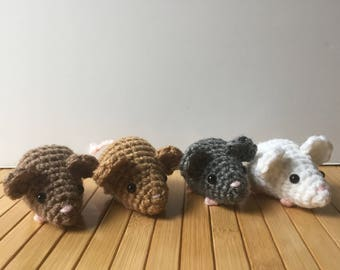 Wee Mouse - Small Amigurumi Mouse Doll - Custom Color Options - Keychain or Ornament Options