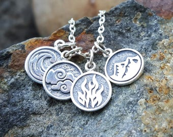Fire Earth Air Water - Set of Element Necklace Charms - Sterling Silver Element Symbol Necklace - Wave Flame Mountain Cloud