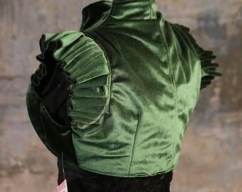 L - Emerald Green Velvet Cameo Vest