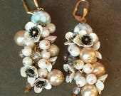 Creamy White Flower Earrings... with mixed Pearls and Beads from Wendy Baker