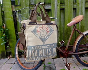 Tioga Mills - Waverly New York - Americana Vintage Seed Feed Sack Book Tote W- OOAK Canvas & Leather Tote .. Selina Vaughan