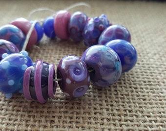 Handmade Lampwork Beads by SweetpeasGlassDesign - Lampwork Glass Beads - Purple Passion - Floral Tones