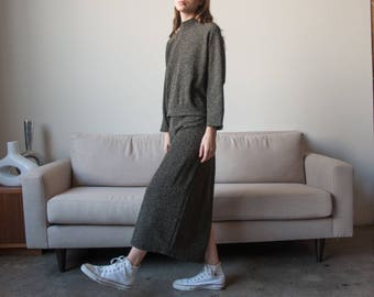metallic knit skirt set / black gold mock neck sweater and skirt / maxi skirt set / m / l / 2820t / B5