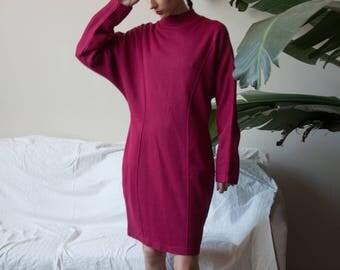 fuschia knit mock neck sweater dress / turtleneck colorblock dress / dolman slv / s / m / 881d / B4