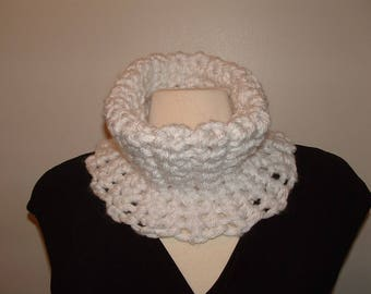 White Crochet Infinity Cowl/Neckwarmer