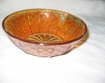 Iridescent carnival glass bowl checkerboard pattern