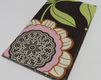 Checkbook Cover Case Cheque Coupons Receipts Money Holder - Flowers on Brown Fabric - Amy Butler Fabric
