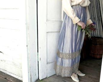 "Blue Lamé Skirt With Metallic Gold Lace 28"" Waist"