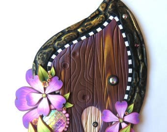 Lavender Garden Fairy Door Handmade Pixie Portal Miniature with a Pet Door Fantasy Decor Tooth Fairy Entrance