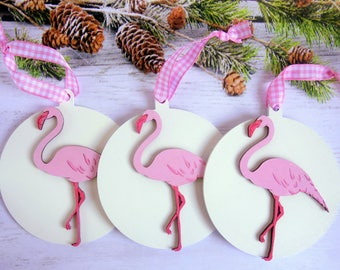 Pink Flamingo Christmas tree ornaments, set of 3 white wood baubles. Fun, colourful, hand-painted tropical bird decorations