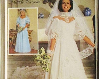 60% OFF SALE 1980s Vintage Sewing Pattern Simplicity 7259 Bride Bridesmaids Dress Wedding Dress Pattern Size 12 Uncut