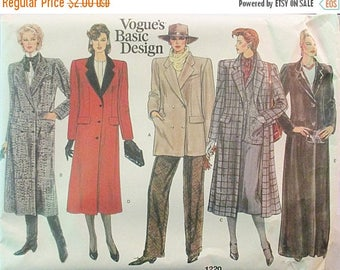 ON SALE 1980s Vintage Sewing Pattern Vogue 1220 Misses Coat Pattern Size 10 Uncut