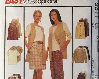 30% OFF SALE 1990s Misses Sewing Pattern McCalls 9311 Misses Vest, Top & Pants or Shorts Pattern Size 18, 20, 22 Uncut