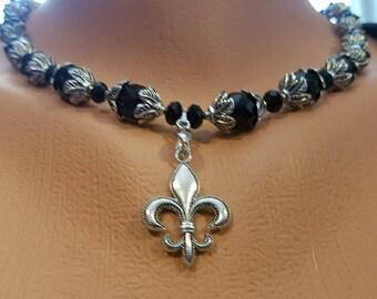 Czech Faceted Jet  Glass and Fleur De Lis Necklace